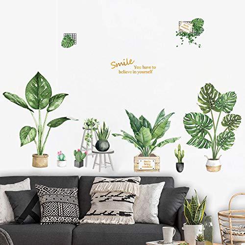 Gshy Vinilos de plantas tropicales Vinilo decorativo plantas en maceta hoja de palmera decoración de pared para salón Despacho Habitación
