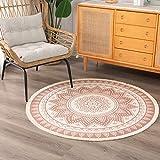 idee-home Handgewebter, runder Chindi-Teppich, khakifarbener Überwurf, Teppich, Fußmatte, Innenbereich, Teppich, Schlafzimmer, Wohnzimmer, Kinderzimmer, Spielzimmer