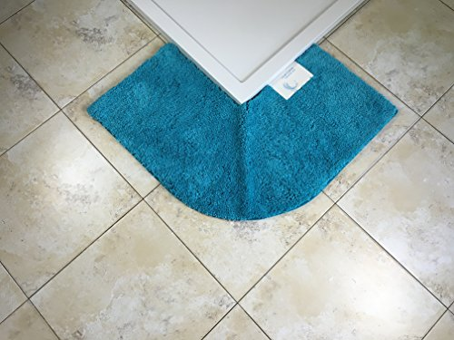 Cazsplash Quadrant Eckduschmatte, Baumwolle, blaugrün, 47 x 44 x 6.5 cm