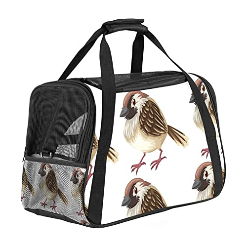 Bird Seamless Pattern Pet Carrier Bag, Portable Soft Sided Dogs Tote Bag For Small Pets With Carrying Handle And Shoulder Straps, Airline Approved,Travel