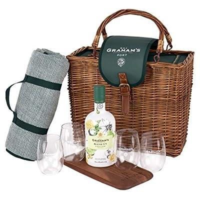 Graham's W. & J. Blend No 5 White Port Picnic Hamper with Rug, Glasses & Chopping Board - 750 ml, 1