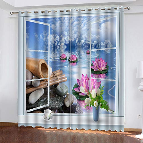 Modern Simple Style Polyester Curtain 3D Cobblestone Printing Vertical Curtain Perforation Living Room Bedroom Balcony Garden Blackout Curtain (2 Pieces)