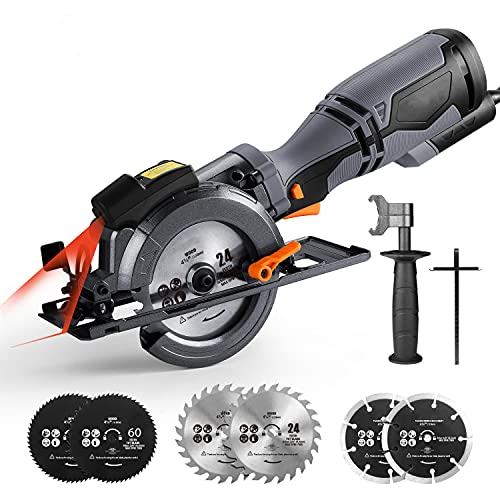 """Circular Saw with Metal Handle, 6 Blades(4-3/4' & 4-1/2""""), Laser Guide, 5.8A, Max Cutting Depth 1-11/16'' (90°), 1-3/8'' (45°), Corded Saw for Wood, Soft Metal, Tile and Plastic Cuts - TCS115A"""