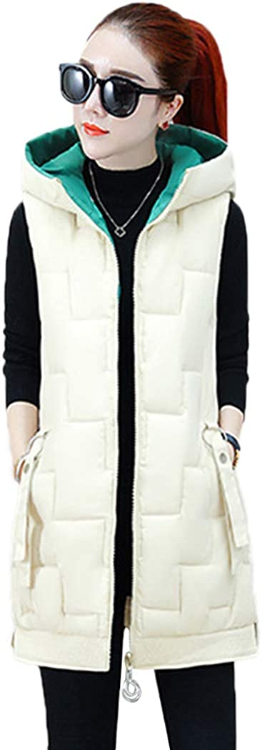 bbpawing Women Quilted Gilet Hooded Sleeveless Zip Slim Mid Long Vest Jacket