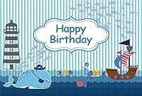 APANボーイ第一最初の誕生日海賊シャーク海灯台サイオート麦船の背景夏の誕生日パーティーの背景赤ちゃんルーム装飾写真撮影の小道具の壁紙用5x3ft航海背景