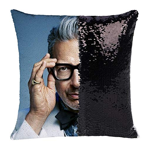 K T One Jeff Magic Reversible Sequins Throw Pillow Cover Decorative Pillowcase Color Changing Throw Pillow Cover for 16x16 (Jeff Black)