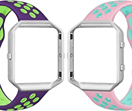 UMAXGET Compatible with Fitbit Blaze Bands, Soft Breathable Silicone Sport Band with Silver Metal Frame Compatible with Fitbit Blaze Smart Watch for Men Women, Small Large
