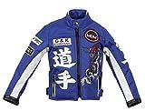 MDM Kinder Motorradjacke in blau, Racer Jacke, Bikerjacke, Racingjacke, (S)