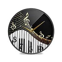 12インチ丸壁時計非カチカチ音を立てないサイレントバッテリー式オフィスキッチンベッドルーム家の装飾-楽器とメモ
