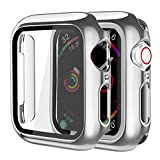 Supoix Compatible for Apple Watch Screen Protector 38mm, 2 Pack Hard PC Case with Slim Tempered Glass Screen Protector Overall Protective Cover for iWatch Series 3/2/1 (38mm Silver)