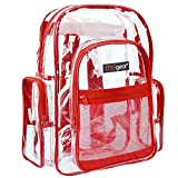 A stylish and practical backpack constructed from durable transparent PVC plastic with red trim Versatile design features 3 front pockets, 2 side pockets, and adjustable shoulder straps The clear material is ideal for going through security checkpoin...