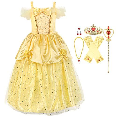 O.AMBW niña Belle Princess Disfraz Lentejuelas Vestir Halloween Bella y la Bestia Cosplay Fiesta Amarillo niños Ropa y Accesorios Guantes Corona Varita Collar Anillo