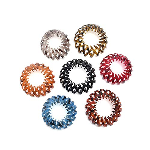 Vintage Geometric Retractable Hair Loops, Fashion Retro Leopard Print Hairstyle Headbands,Ponytail Hairpin Curling Iron, Bird's Nest Hair Bands ,for Women for All Hair Types(7PCS) (7PCS)