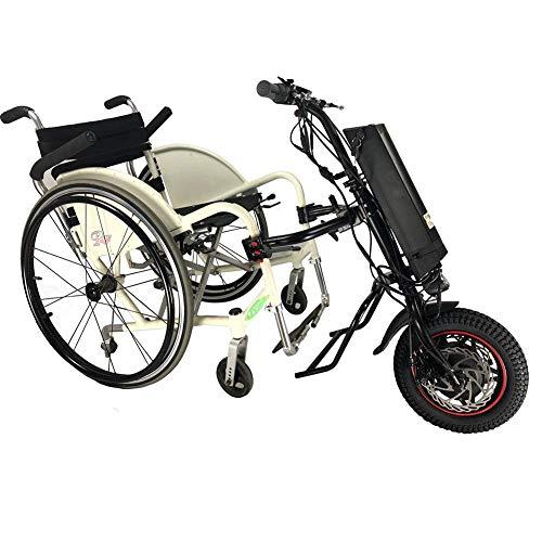 51ayLNGggeL - GMtes Silla de Ruedas eléctrica Adjunto handcycle Silla de Ruedas, Terapia de rehabilitación eléctrica Kit de conversión de Silla de Ruedas para Mayores Discapacidad,11.6Ah
