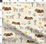 Lama, Tiere, Wüste, Kaktus, Berg, Schnee Stoffe -