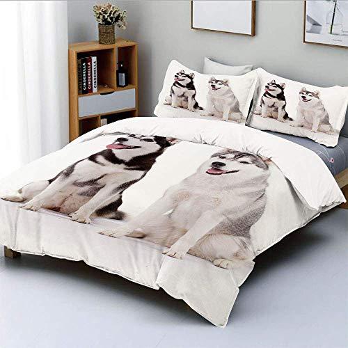 Juego de Funda nórdica, Furry Arctic Doggies Husky Whelp Pedigree Pet Happy...
