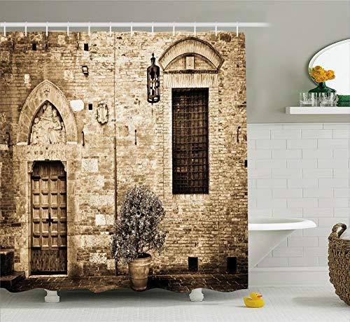 Rustikaler Duschvorhang Steinhaus Sepia View Print für Badezimmer