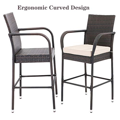 Do4U Set of 2 Patio Bar Stools All-Weather Wicker Outdoor Furniture Chair, Bar Chairs with Cushions & Armrest & Footrest Garden Pool Lawn Backyard Steel Frame Barstools (Light Brown)