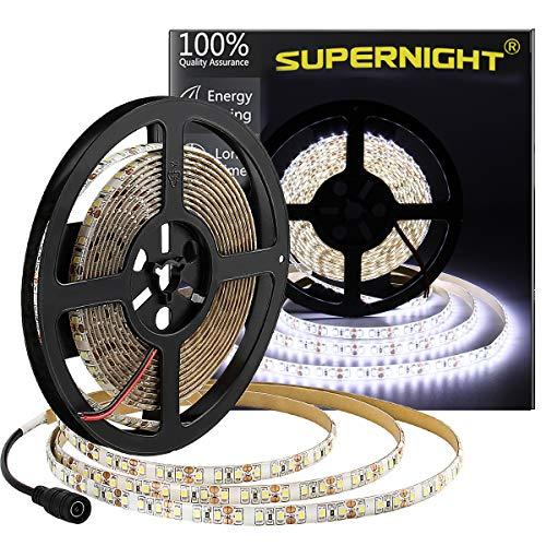 600 LEDs Light Strip Waterproof Cool White 7000K, SUPERNIGHT 16.4FT LED Rope Lighting Flexible Tape Decorate for Bedroom Boat Car TV backlighting Holidays Party (White)