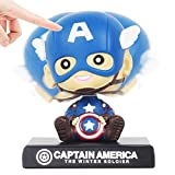 Coolgu Superhero Marvel-Hero Cartoon cute model Collectible toy, Car decoration mobile phone holder Dashboard/ Office Home Accessories /Holiday Decoration/ Bobblehead Doll Kid's Gift (Captain America)