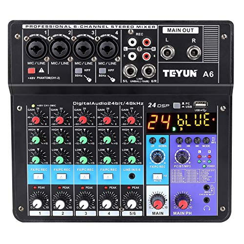 Wireless Professional 6-channel Audio Mixer TEYUN Portable Sound Mixing Console with USB Interface Digital Computer Input 48V Phantom Power Monitor Audio Equipment for Home Music Production Webcast
