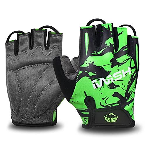 iwish Guantes para niños delgados de medio dedo para deportes al aire libre de ciclismo guantes para niños verde-grande