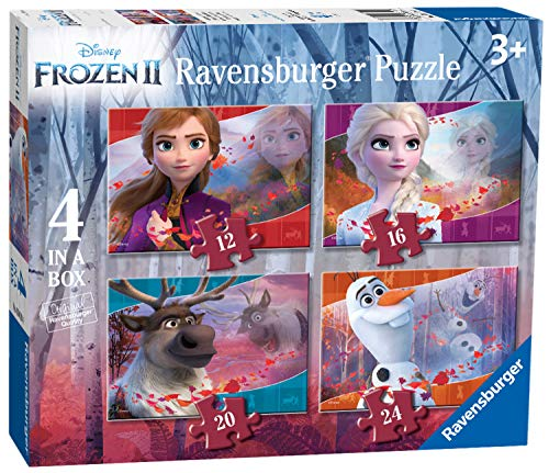 Ravensburger Kinderpuzzle 03019 Disney Frozen 2: 4 Puzzles in a Box Puzzle-12/16/20/24 Teile [Exklusiv bei Amazon]