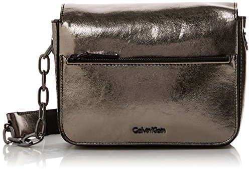 Calvin Klein - Night Out Small Shoulder Bag Metalic, Bolsos bandolera Mujer, Gris (Gun Metal), 7x15x21 cm (B x H T)
