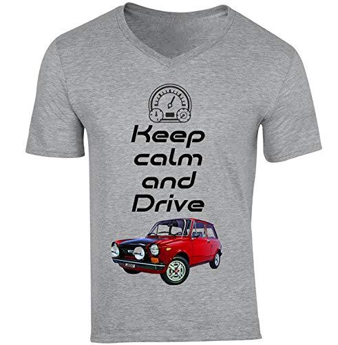 Teesandengines Men's Autobianchi A112 Abarth Keep Calm Camiseta Gris para Hombre de Algodon T-Shirt Size Small