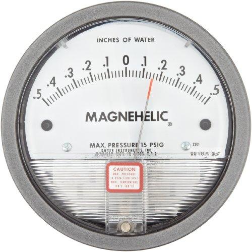Dwyer Magnehelic Series 2000 Differential Pressure Gauge, Range 0.5-0-0.5