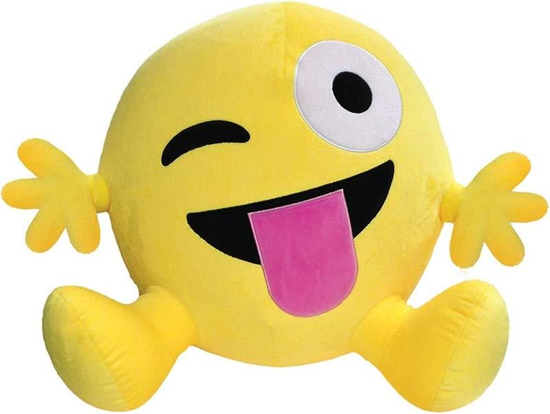 Iscream Bestie Jumbo Emoji Crazy Face Fleece Microbead Pillow Friend
