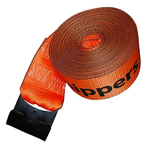 """Shippers Supplies 4"""" x 30' Orange Winch Strap with Flat Hook — 10 Pack"""