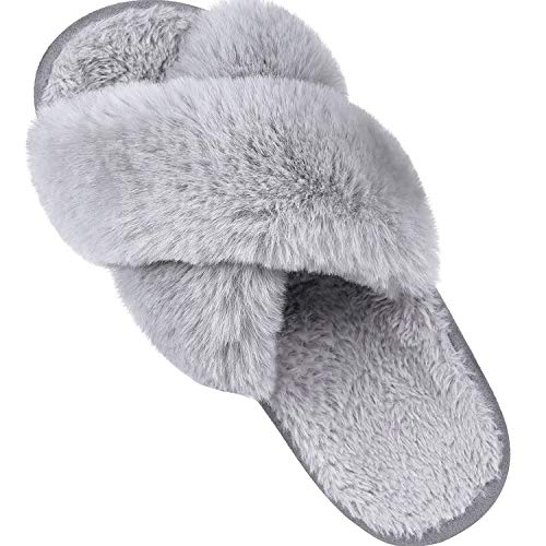 Women's Soft Plush Lightweight House Slippers Non Slip Cross Band Slip on Open Toe Cozy Indoor Outdoor Slippers GY38-39 Grey