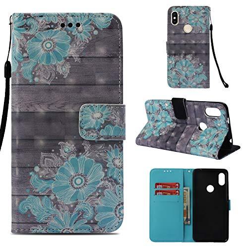 Funluna Xiaomi Redmi S2 Hülle, Flip Handy Stoßfest Lederhülle Brieftasche, Trageschlaufe, Kartenfächer, Magnetverschluss Handytasche für Xiaomi Redmi S2 - Blau Blumen