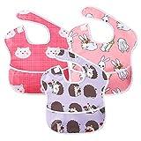 Lätzchen Baby Kleinkind Lätzchen Wasserdicht Kurzarm Lätzchen Fütterung Lätzchen Schürze mit eingebauten Tasche für Babys/Kleinkinder (Igel & Hase & Katze)