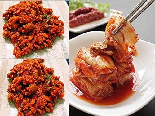 (やがちゃんキムチ謹製/無添加・アミノ酸も酵母エキスも無添加)うにキムチ2個と白菜キムチ頂のセット  白菜は国産、ウニはチリ産、無添加手作りです