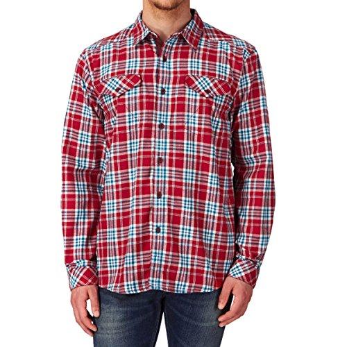 THE NORTH FACE, T-Shirt à Manches Longues pour Homme, modèle Lodge, Rouge (Rage Red Plaid), S