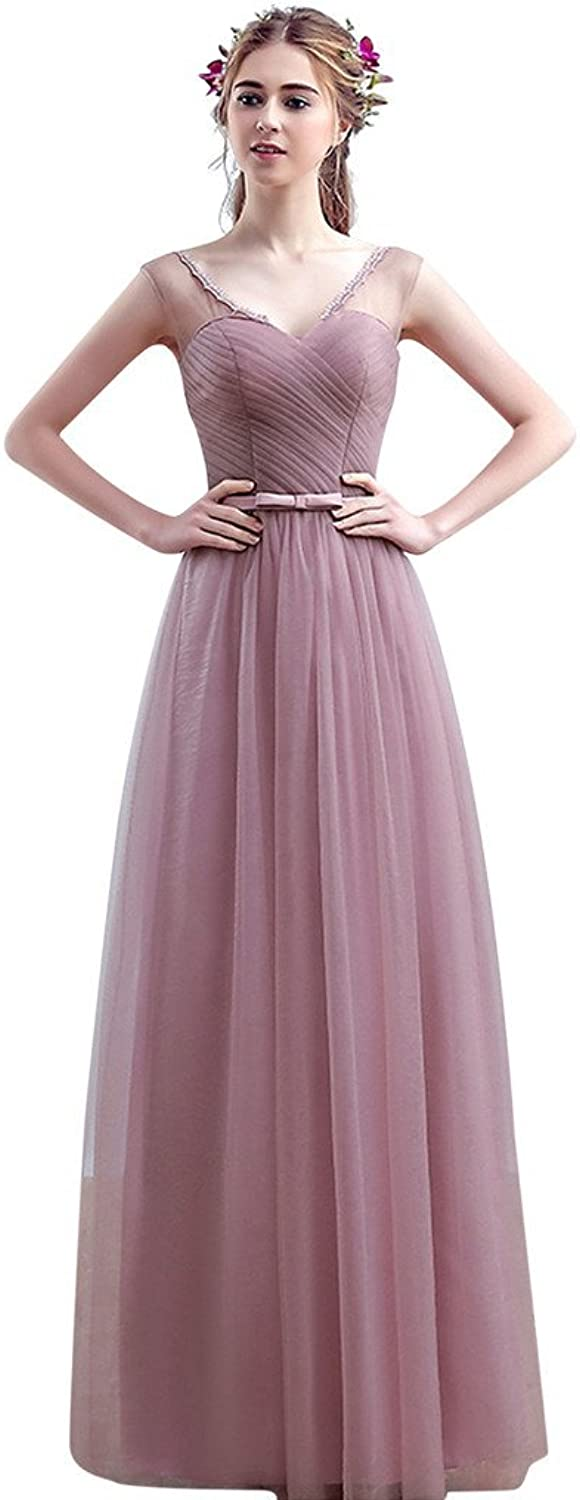 Vimans reg; Women's Long Dark Pink Pleated Bridesmaid Maxi Tulle Reception Gowns