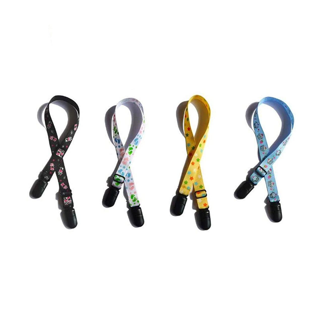 4PCS Assorted Color Printing Adjustable Napkin Clip Neck Strap Bibs Clip Clasp Holder Lanyard Saliva Clamp Pinafore Fixation Clip Towel Apron Bibs Chain for Elderly Adult Baby Color Random
