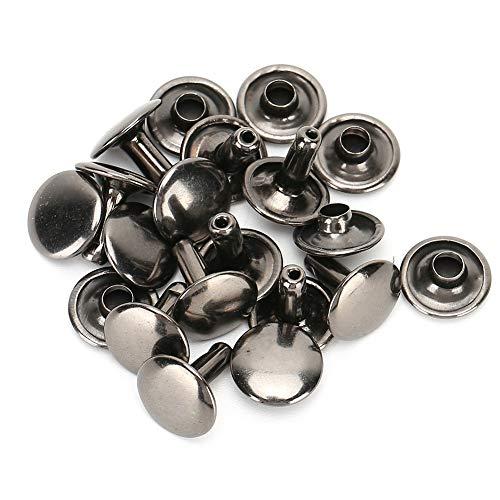 200 juegos de remaches de cuero de remache de doble tapa Espárragos de metal tubulares para reparaciones artesanales de cuero Bolsas Cinturones Sombrero Zapatos Costura Decoración 10x10mm(negr