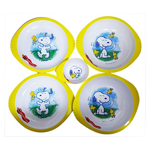 Peanuts Trudeau New Wave Snoopy & Woodstock 5 Piece Microwave Plate Bowl Set