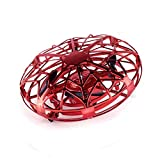 QUOXO Hand-Controlled Mini Drone for Kids, Infrared Induction Aircraft Flying Ball Quadrocopter Drone (red)