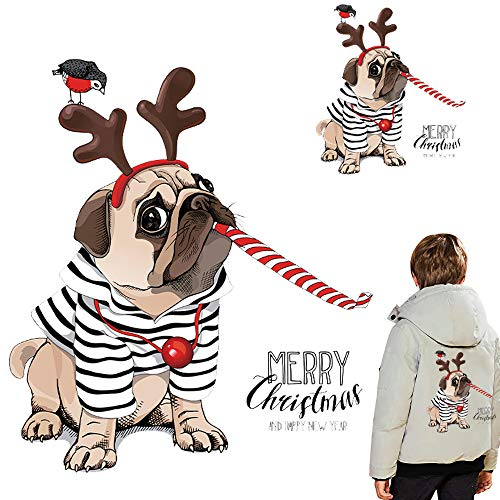 Christmas Iron On Stickers Patches for Kids Dog Heat Transfer Decals Appliques for Family Xmas Clothing Decorations Dogs Puppies Stickers Party Favors DIY Decor