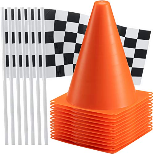 Bedwina Traffic Cones and Racing Checkered Flags - (24 Pcs) 12 - Black and White Flags on Sticks and 12 – 7-Inch Mini Orange Sports Safety Cones for Kids - Race Car Theme Birthday Party Supplies