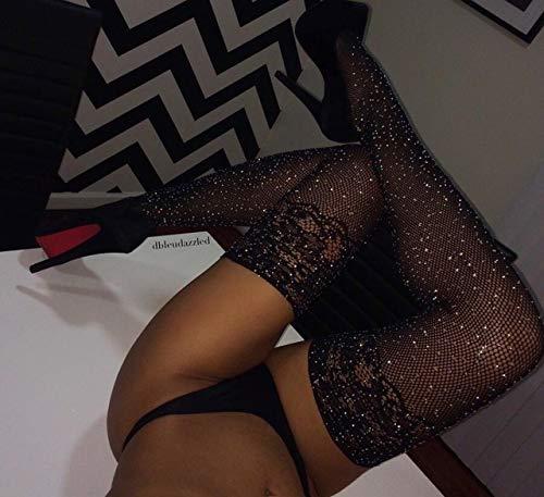 Nonebranded Sexy Kristall Netzstrümpfe Strumpfhosen Strass Strumpfhosen Sexy Dessous Schwarze Spitze Oberschenkel Hohe Strümpfe Für Frauen, Farbe, Einheitsgröße