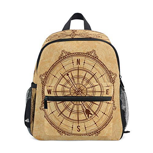 RXYY Kids Backpacks Vintage Ship Compass Shoulder Travel Toddler Preschool School Bag Casual Backpack with Chest Strap for Girls Boys