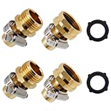 Lifynste Garden Hose Repair Connector with Clamps, Male and Female Garden Hose Fitting, 2 Set