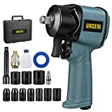 URCERI Air Impact Wrench 1/2' Pneumatic Super Duty Power Composite 1/2 Inch Impact Wrench 610 Nm. /450 foot-lbs Max Free Speed of 8200RPM High Square Drive Torque, 10Pcs Driver Impact Sockets