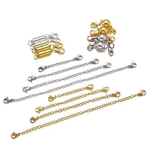 """Beadthoven 8pcs 2""""3""""4""""6"""" Stainless Steel Necklace Bracelet Extender End Chains with 4 Set Golden & Silver Plated Brass Magnetic Clasps Kit Set for Jewelry Making Findings"""
