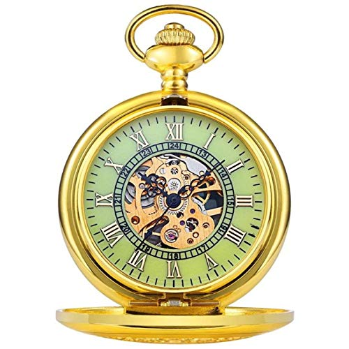 ZHANG Reloj de Bolsillo para Hombre, Reloj de Bolsillo para Regalo, Reloj de Bolsillo Mecánico Dorado con Tapa, Enviará Un Reloj Luminoso, Cuarzo, Número Romano